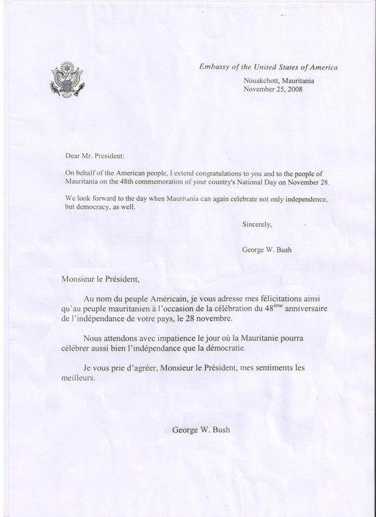 Lettre du Président Busch à son homologue mauritanien
