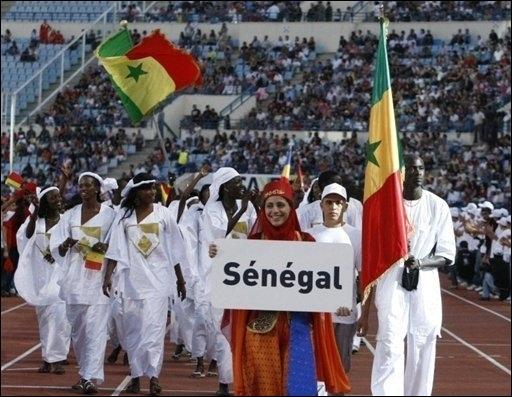 Défilé de la délégation sénégalaise, lors de la cérémonie d'ouverture des jeux de la Francophonie, le 27 septembre à Beyrouth.