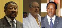 Jean Ping, Président de la Commission de l'union Africaine, le Président Ould Cheikh Abdallahi et Blaise Campaoré, Président du Burkina faso