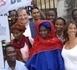 Mme Houléye Sall, écharpe rouge, lors du procés Ely ould Dah à Nimes le 1er juillet 2005, elle était venue de Nouakchott témoingner.