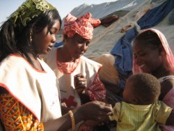Le personnel de la Croix-Rouge et du Croissant-rouge évaluant la malnutrition des enfants pendant les campagnes à domicile, dans le village de Nima, près de Kaédi, au sud la Mauritanie.