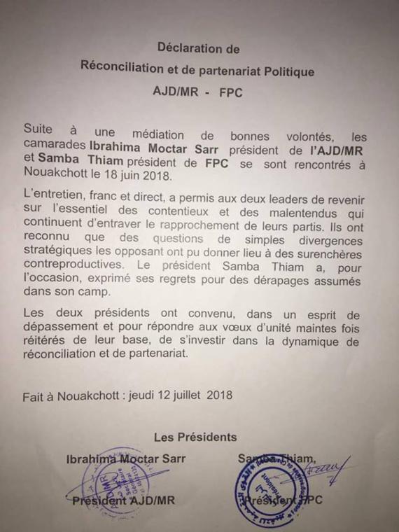 Un grand bravo aux présidents Ibrahima Moctar Sarr et Samba Thiam pour leur sens des enjeux et l'Histoire.