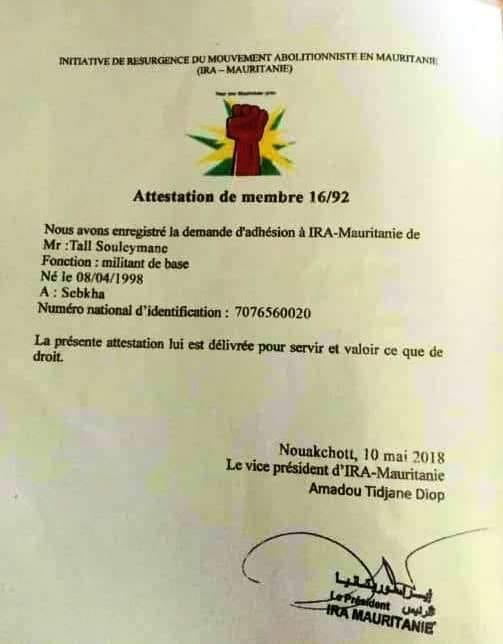 Le Président du FRUD  s'adresse à IRA-Mauritanie,OFPRA (France ), CNDA,CGRA.